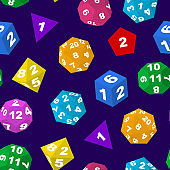 Color Polyhedron Dice with Numbers Seamless Pattern Background. Vector