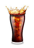 Realistic Detailed 3d Glass with Splash of Drink and Ice Cubes. Vector