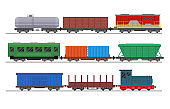 Cartoon Color Freight Train with Wagons Set. Vector