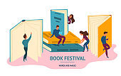 Cartoon Color Characters People and Book Festival Concept. Vector