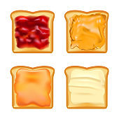 Realistic Detailed 3d Toasts with Jams Set. Vector
