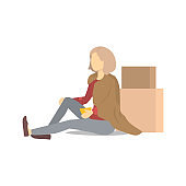 Cartoon Color Character Homeless Person with Cover. Vector