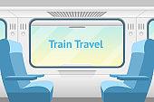 Cartoon Train Inside Interior Card Ad. Vector