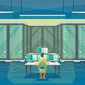 Cartoon Color Server Room Inside Interior and Admin. Vector