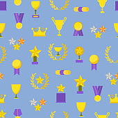 Cartoon Color Award Signs Concept Seamless Pattern Background . Vector