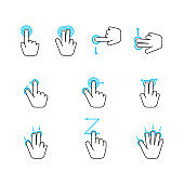 Hand Touchscreen Gestures Device Icon Set. Vector