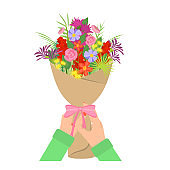 Cartoon Color Human Hand Holding Bouquet Concept. Vector