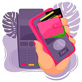 Cartoon Color Human Hand and Card Pay Mobile Concept. Vector