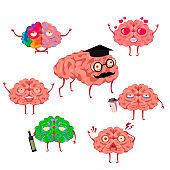 Cartoon Color Brain Emotions Icons Set. Vector