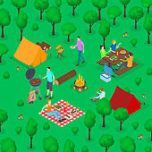 BBQ Picnic Concept 3d Isometric View. Vector