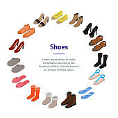 Shoes Concept Banner Card Circle 3d Isometric View. Vector