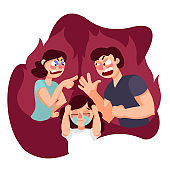 Cartoon Color Characters People and Family Quarrel Concept. Vector