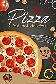 Realistic Detailed 3d Pizza Ads Banner Concept Poster Card. Vector
