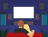 Cartoon Color Characters Couple of Young People Watching TV Concept. Vector