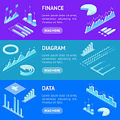 Data Financial Graphs Concept Banner Horizontal Set 3d Isometric View. Vector