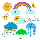Cartoon Color Cute Weather Sign Icon Set. Vector