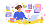 Cartoon Color Character Person Woman and Content Manager Female Multitasking Concept. Vector