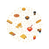 Fast Food Cart Cafe Concept Round Design Banner 3d Isometric View. Vector