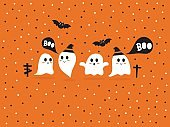 Cute vector with Happy Halloween set, holiday background