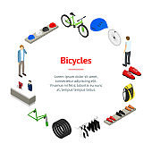 Bicycle Shop Concept Banner Card Circle Isometric View. Vector