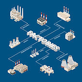 Factory Constructions or Buildings Concept Infographics 3d Isometric View. Vector