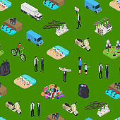 Ecology Pollution Concept Seamless Pattern Background 3d Isometric View. Vector
