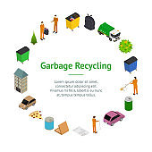 Garbage Recycling Concept Banner Card Circle 3d Isometric View. Vector