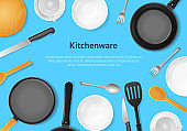 Realistic 3d Detailed Kitchenware or Kitchen Utensils Card. Vector