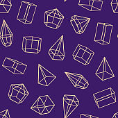 Geometric Glass Container with Thin Line Sides Seamless Pattern Background. Vector
