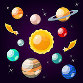 Cartoon Color Solar System Element Icon Set. Vector