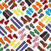 Cartoon Color Woolen Mittens Concept Seamless Pattern Background. Vector