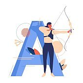 Creative sport letter A and woman with bow shooting during archery training. Concept young character in blue and orange.