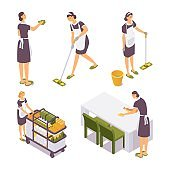 Set isometric room cleaner woman with trolley, wipes dust from the table, washes the floor in hotel, hostel, villa. 3d service female character vector concept collection