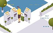 A person independently self check-in for a flight landing page template. Isometric airport scene.