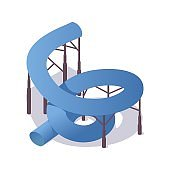 Twisted closed blue waterslide isometric 3d illustration with shadow.
