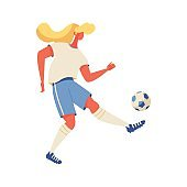 Blonde woman playing with ball. Footbal training character isolated on white background. Vector concept illustration