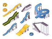 Isometric set of water slides and tubes, aquapark equipment. Swimming pool and stairs in various colors