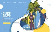 Surf camp landing page or banner. Vector male character with surfboard standing near palms and big wave. Flat cartoon man smiling design, good for surfing school web site