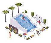 Isometric concept scene with surfer training wave pool and people around.