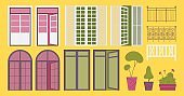 French balcony set. Flat collection with open and closed exterior door elements, railing and trees good for decoration isolated on yellow background