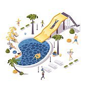 Isometric aqua park concept scene with people relaxing on lounge chair, water slide