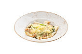 Healthy Caesar Salad with salmon, parmesan Cheese and Croutons isolated on white background
