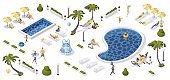 Beach resort concept 3d isometric scene. Tropical palms, pools, loungers and greenery with relaxed people in beachwear and swimwear. Kids and adults walking and having fun.