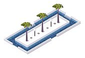 Square isometric 3d pool with palms and lamps in center. Isolated on white tropical object with blue water