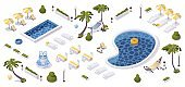 Isometric hotel outdoor design. Tropical palms, pools, sunbeds and hammocks in 3d concept scene.
