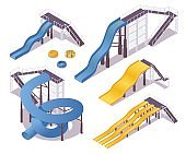 Isometric water slides with stairs and shadows. Vector 3d collection in blue and yellow.