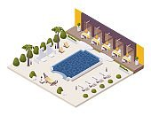 Isometric pool near the restaurant at beach resort with sunbeds, outdoor shower, palm trees