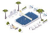 Isometric pool with water volleyball net in a hotel, aquapark, villa. Scene good for outdoor design.