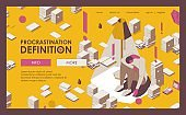 Landing page isometric full color outline underachieving man in depression under a lamp with stacks of books, papers. Procrastination illustration about paperwork deadline and emotional burnout