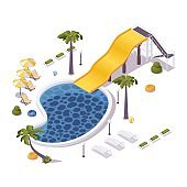 Isometric 3d concept illustration of aqua park with pool, loungers, umbrellas ans water slide. Tropical summer scene.